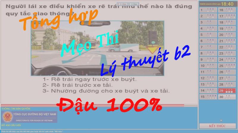 mẹo thi lý thuyết lái xe b2